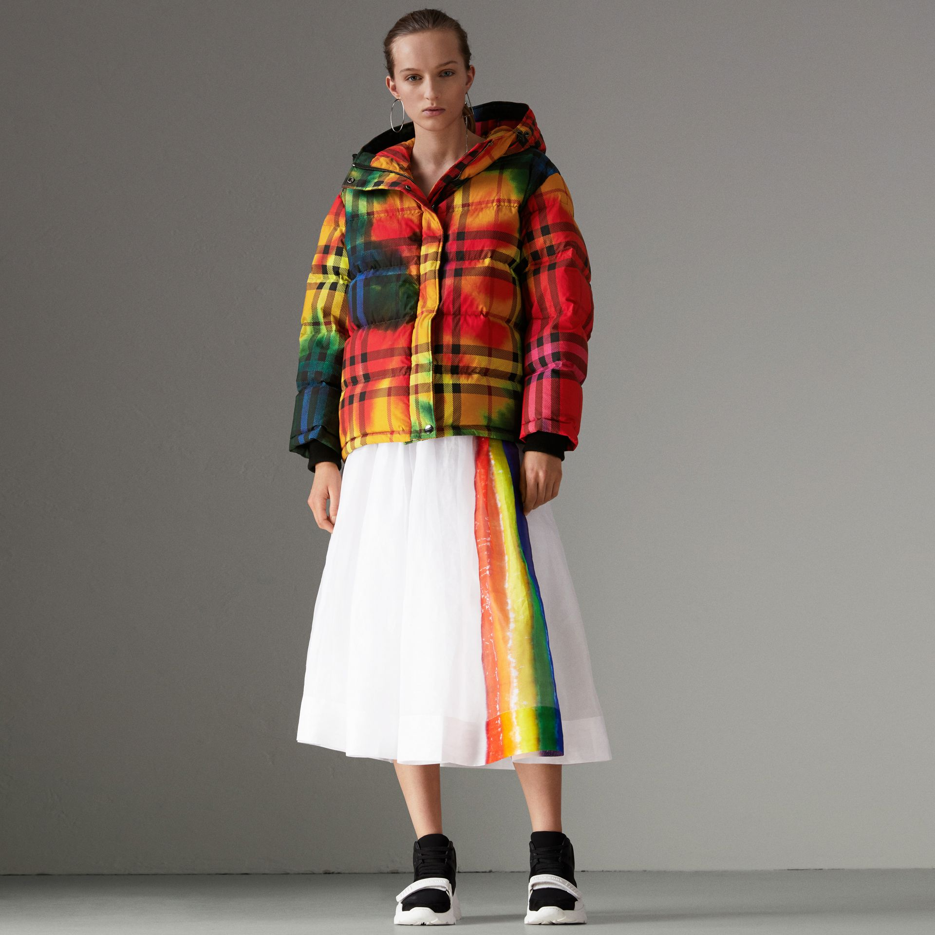 Tie-dye Print Vintage Check Puffer Jacket in Multicolour - Women | Burberry - gallery image 0