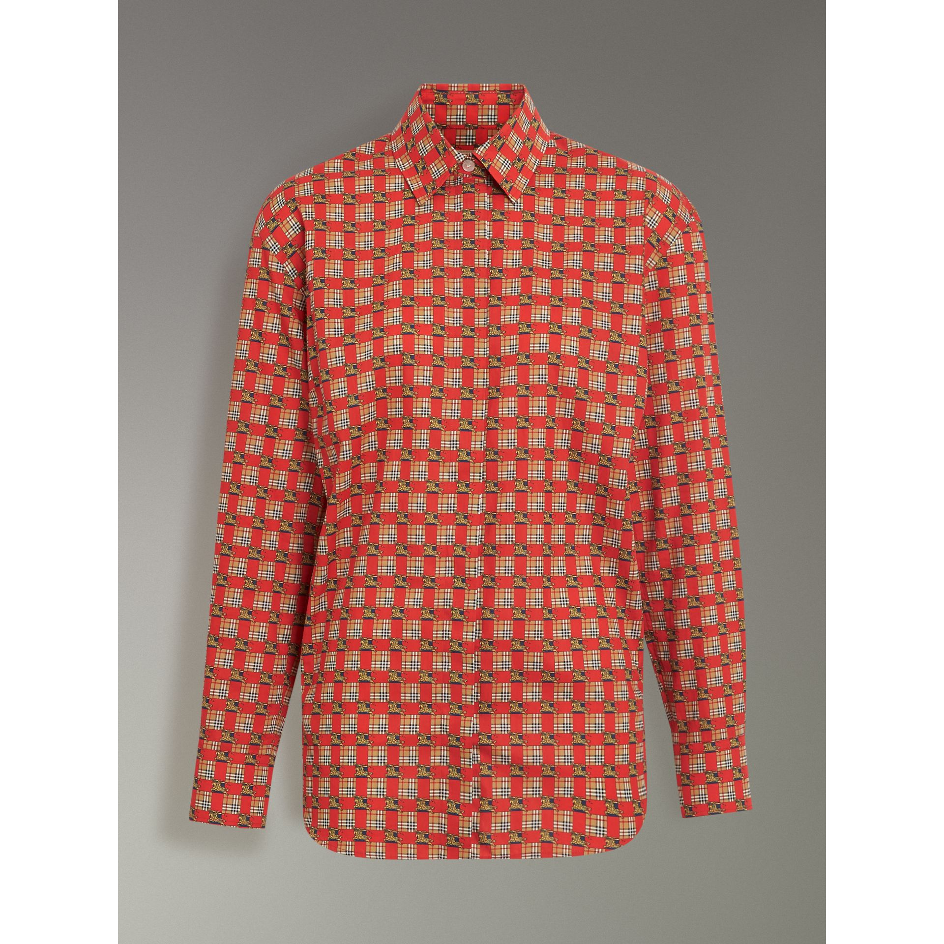 Tiled Archive Print Cotton Shirt in Bright Red - Women | Burberry Australia - gallery image 3