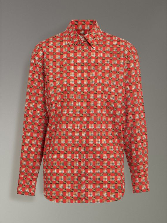 Tiled Archive Print Cotton Shirt in Bright Red - Women | Burberry - cell image 3