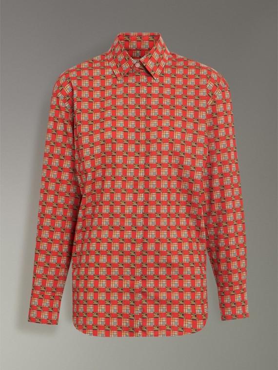 Рубашка с мозаичным принтом (Ярко-красный) - Для женщин | Burberry - cell image 3