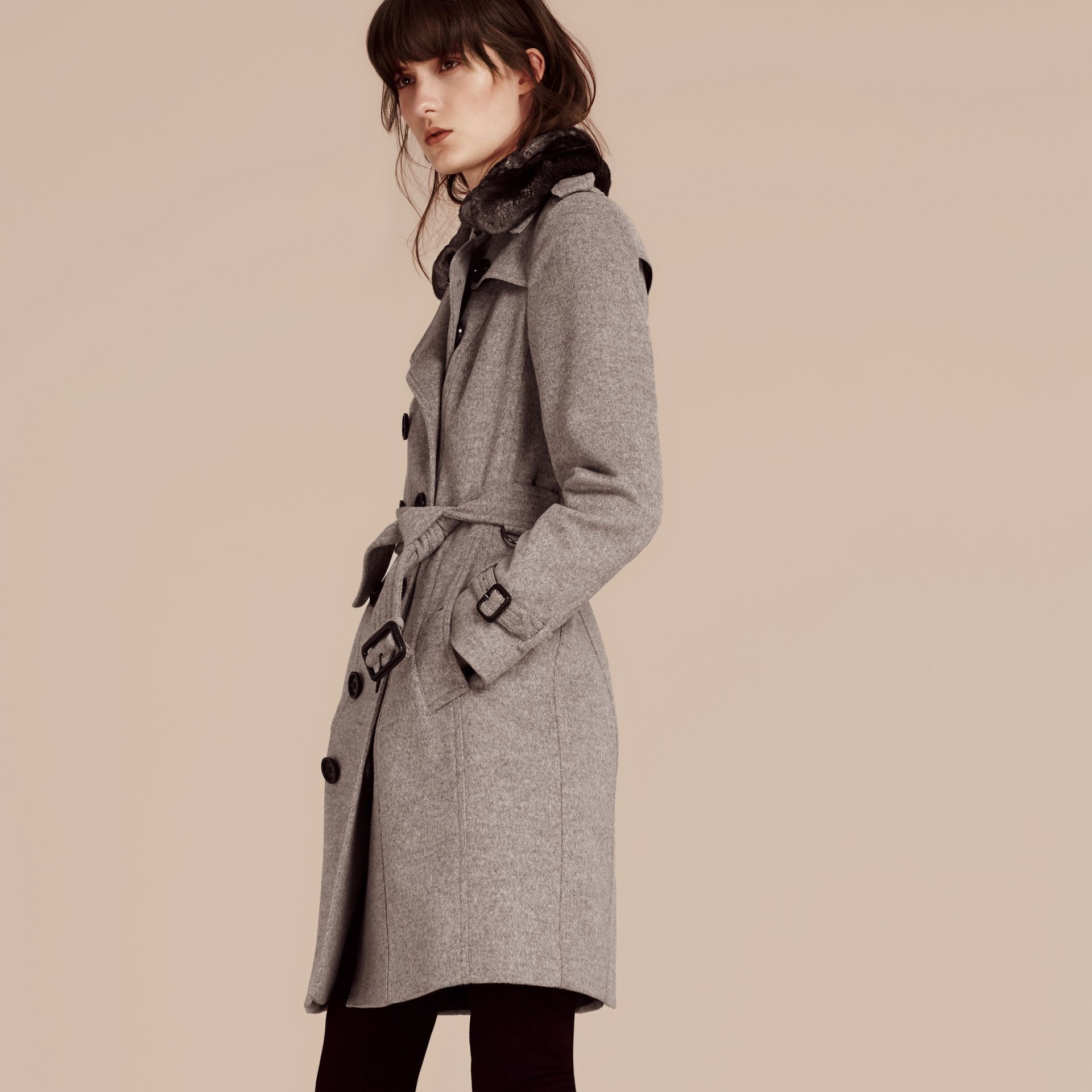 Pale grey melange Wool Cashmere Trench Coat with Fur Collar - gallery image 5
