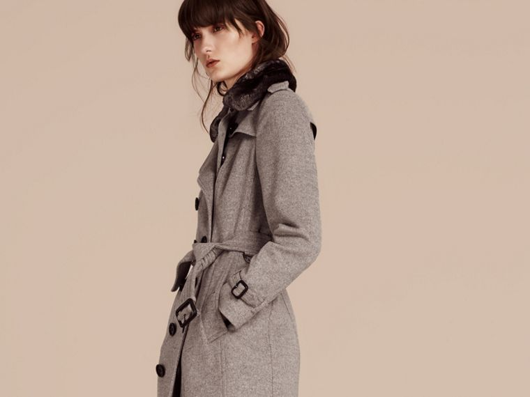 Pale grey melange Wool Cashmere Trench Coat with Fur Collar - cell image 4