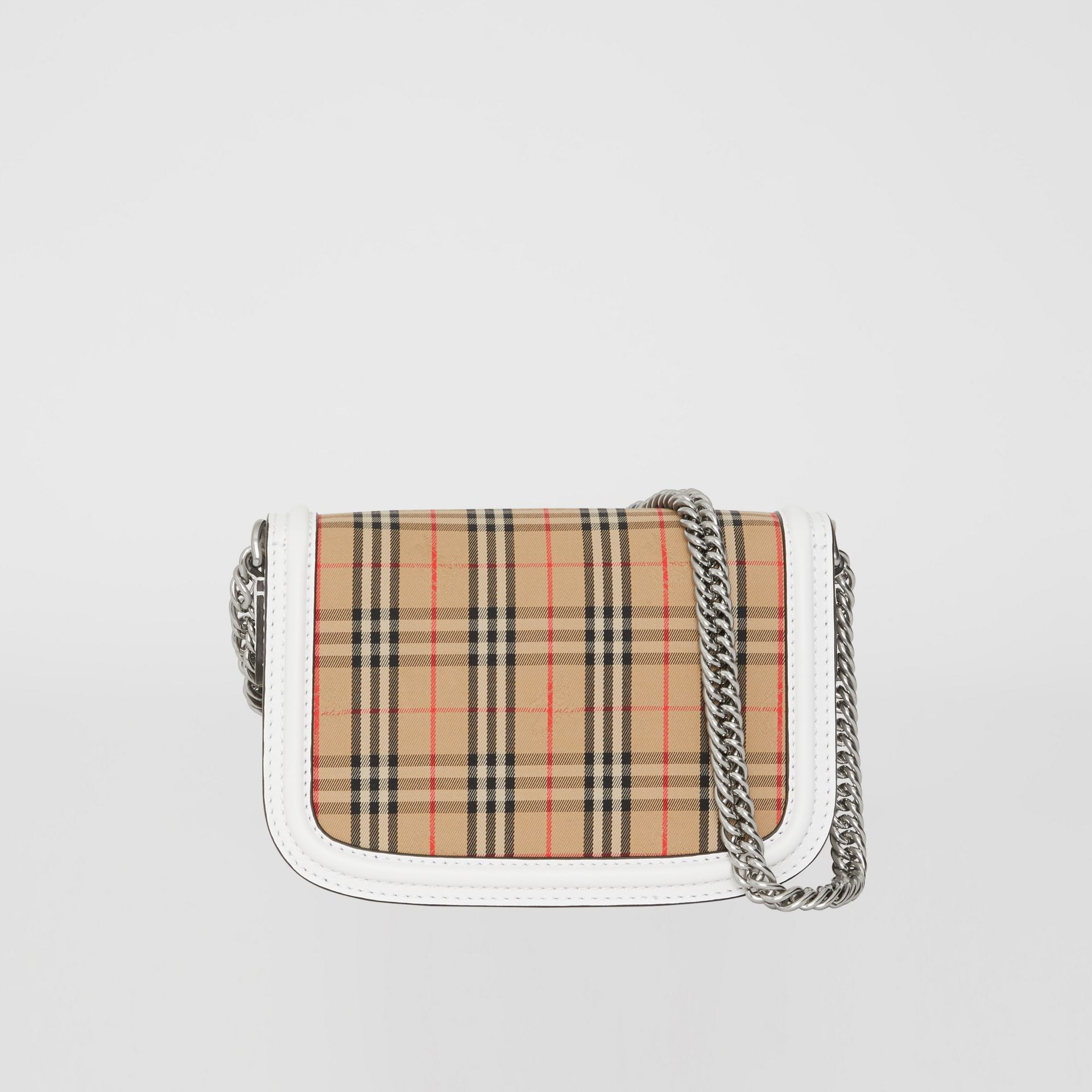 The 1983 Check Link Bag with Leather Trim in Chalk White - Women | Burberry United Kingdom - gallery image 7
