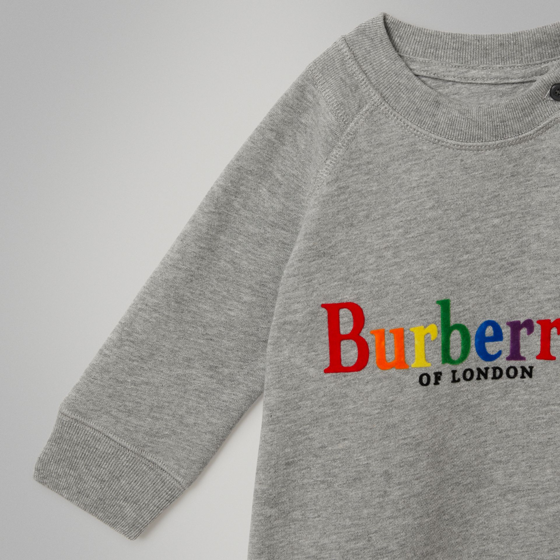 Archive Logo Cotton Dress in Grey Melange - Children | Burberry Australia - gallery image 4