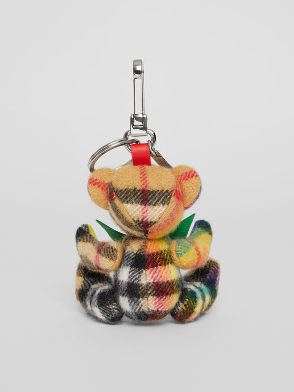 Thomas Bear Charm in Rainbow Vintage Check Cashmere in Multicolour/ Antique Yellow | Burberry - cell image 3