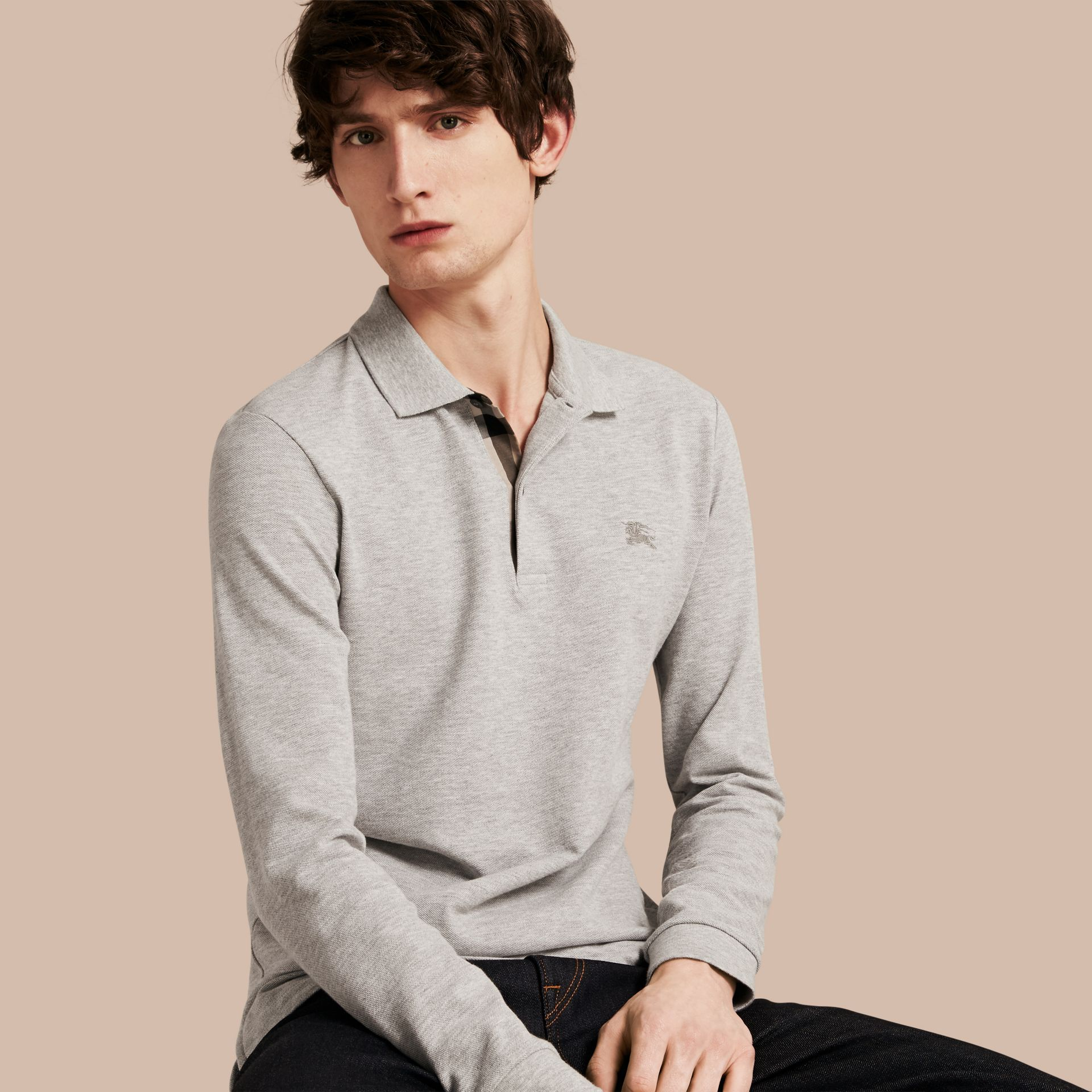 Check Placket Long Sleeve Polo Shirt Pale Grey Melange - gallery image 1