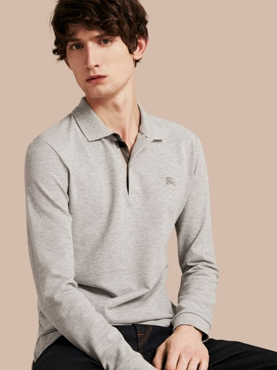 Check Placket Long Sleeve Polo Shirt Pale Grey Melange