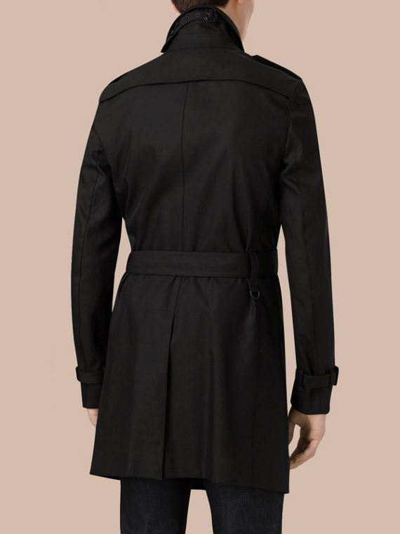 Black Cotton Gabardine Trench Coat - cell image 2