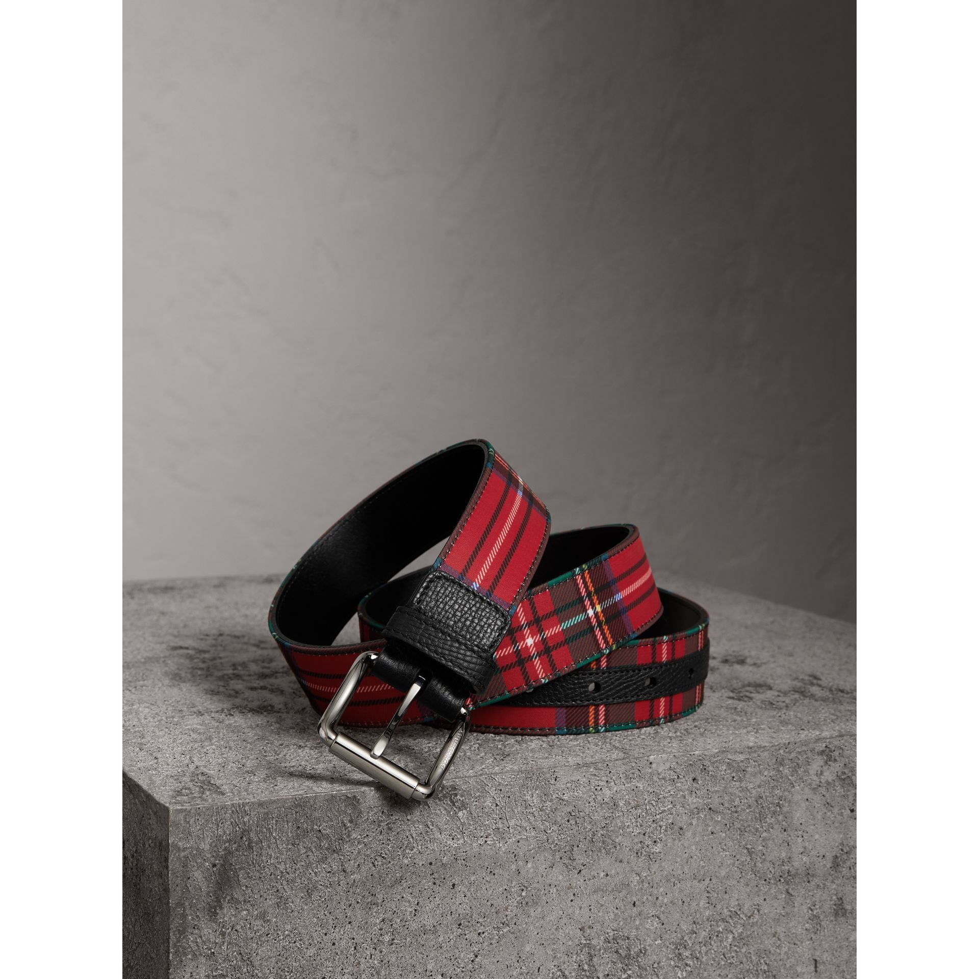 Tartan and Leather Belt in Military Red - Men | Burberry - gallery image 0