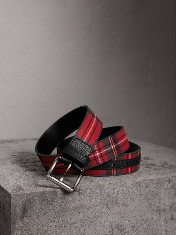 Tartan and Leather Belt in Military Red