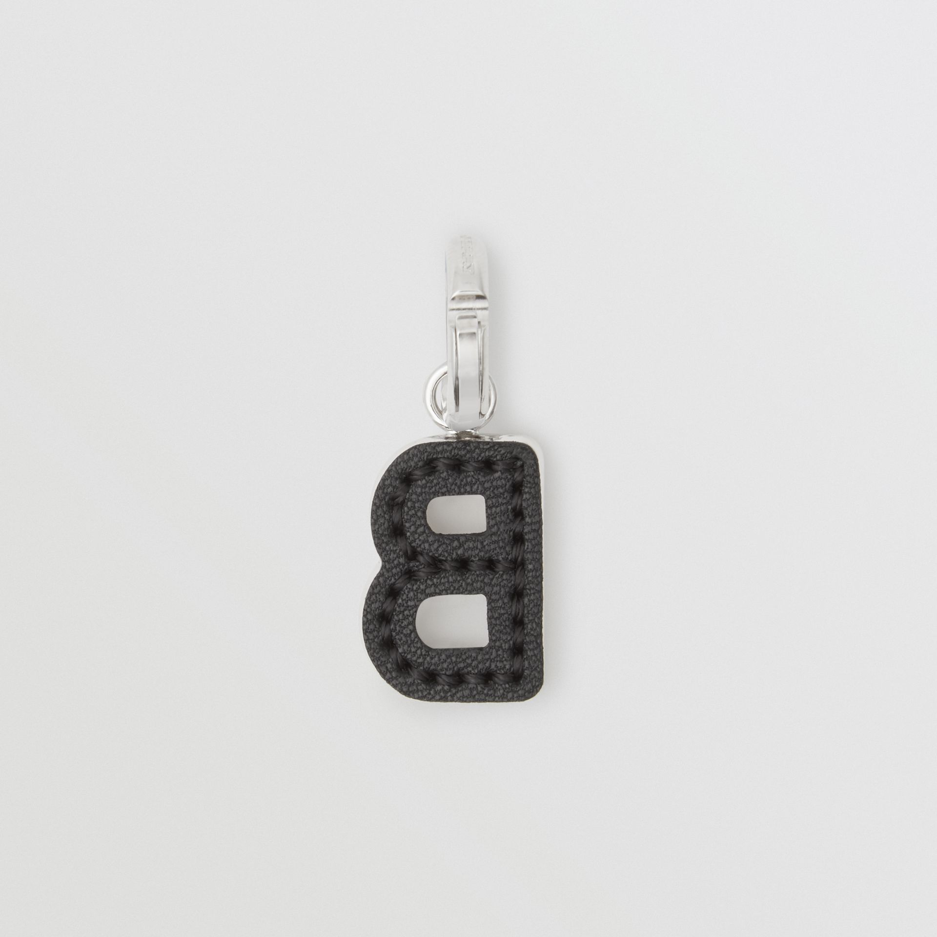 Leather-topstitched 'B' Alphabet Charm in Palladio/black | Burberry - gallery image 3