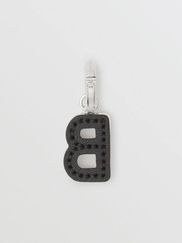 Leather-topstitched 'B' Alphabet Charm in Palladio/black | Burberry Australia - cell image 3