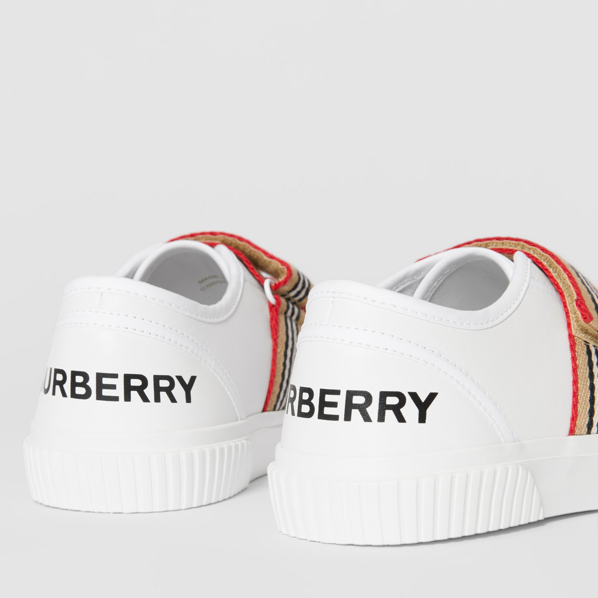 Icon Stripe Detail Leather Sneakers in White - Children | Burberry - gallery image 1