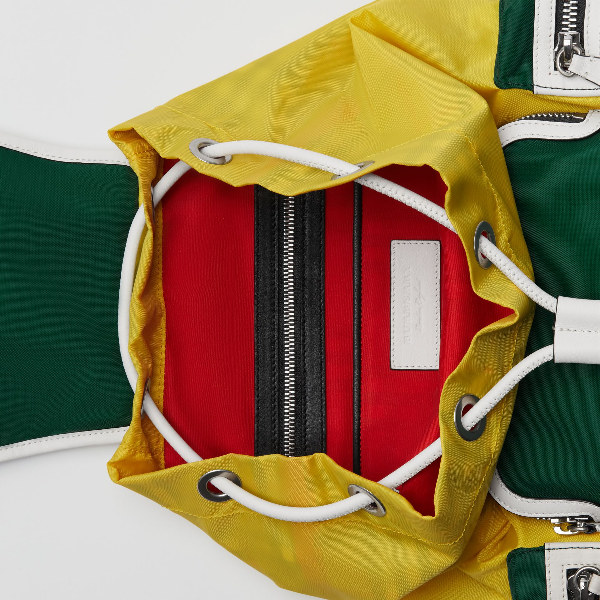 The Medium Rucksack in Colour Block Nylon and Leather in Pine Green - Women | Burberry Canada - gallery image 3