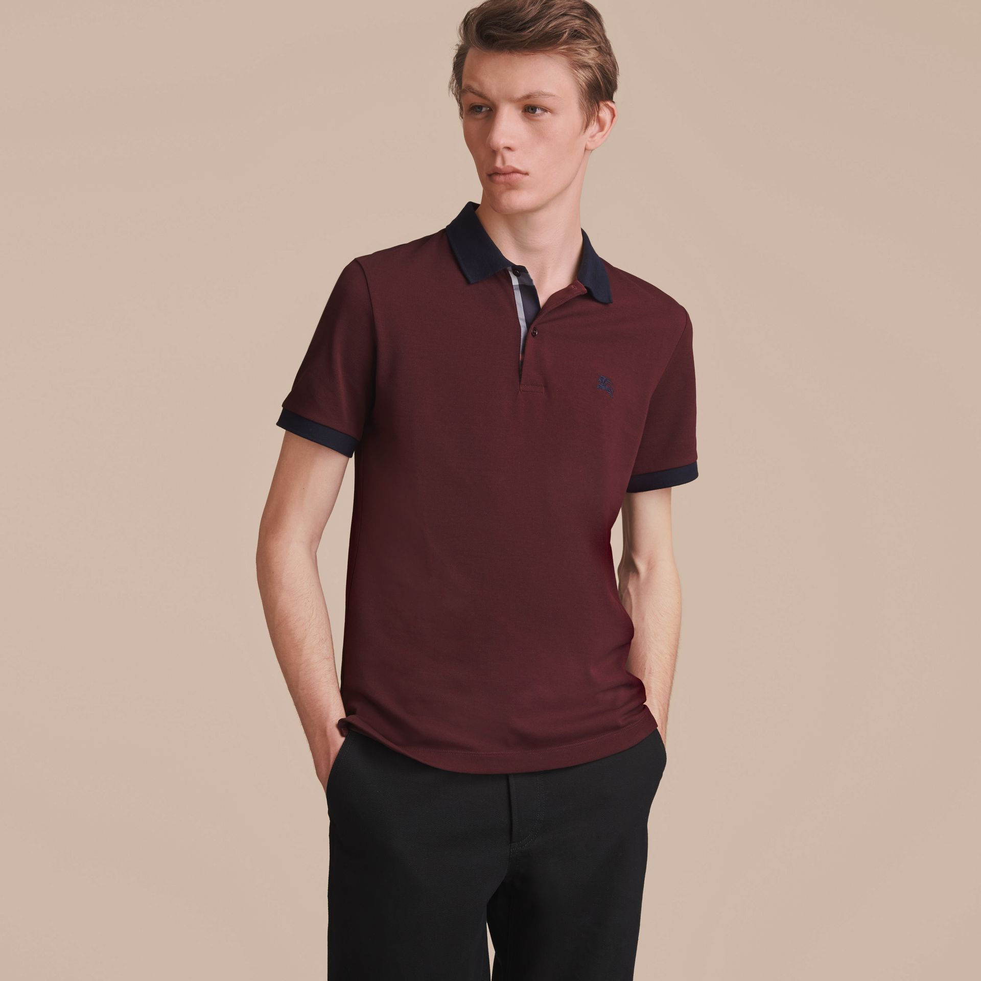 Two-tone Check Placket Cotton Piqué Polo Shirt in Deep Claret - gallery image 6