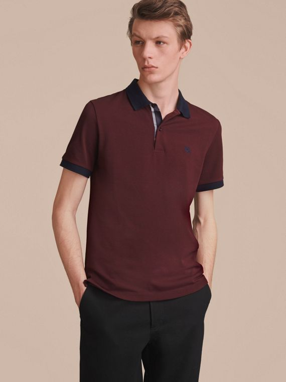 Two-tone Check Placket Cotton Piqué Polo Shirt in Deep Claret - Men | Burberry