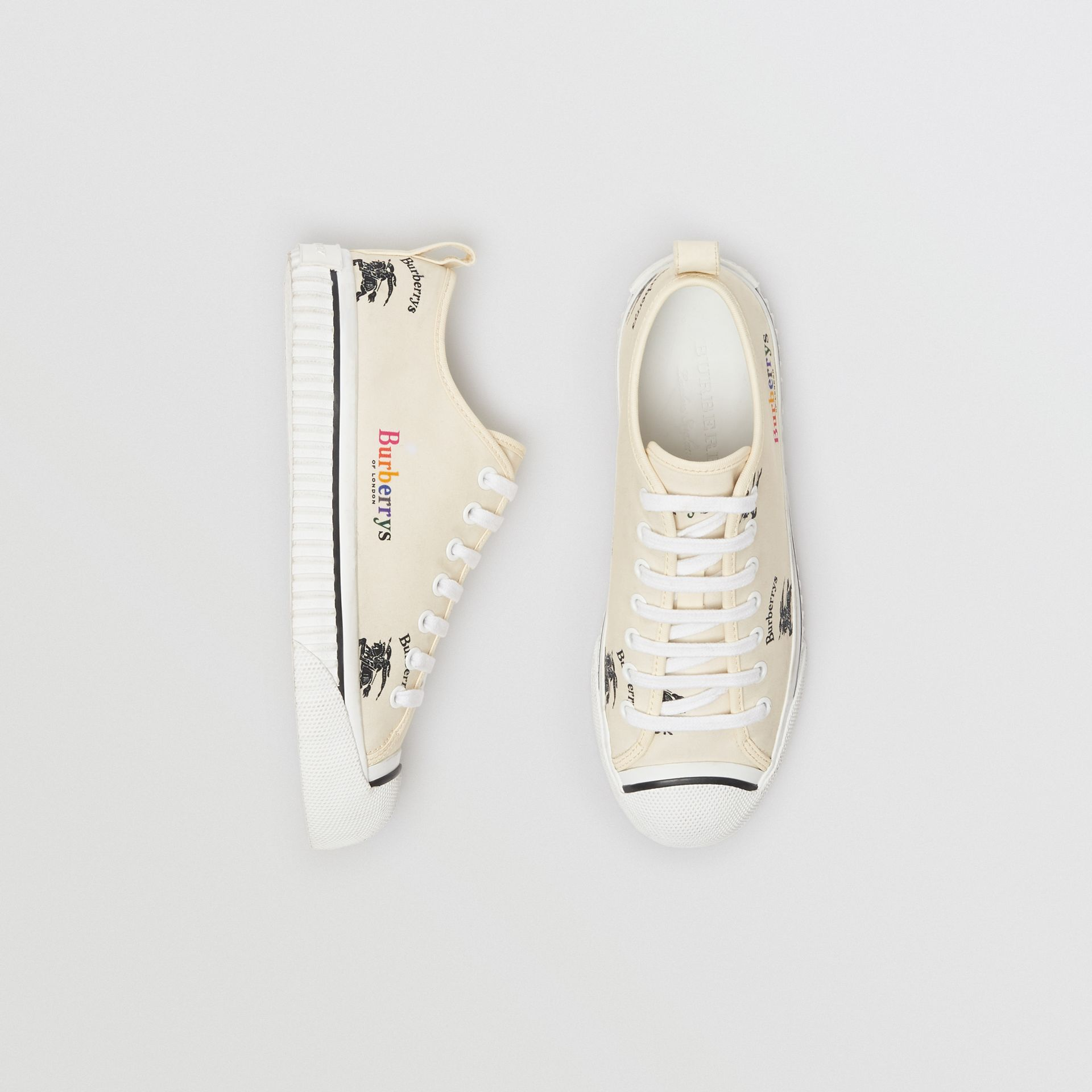 Archive Logo Cotton Sneakers in Off White - Women | Burberry United States - gallery image 0