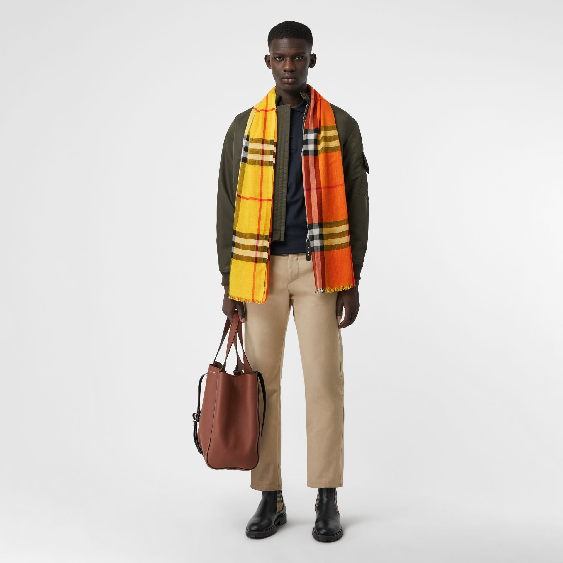 Colour Block Check Wool Silk Scarf in Amber Yellow | Burberry Singapore - gallery image 3