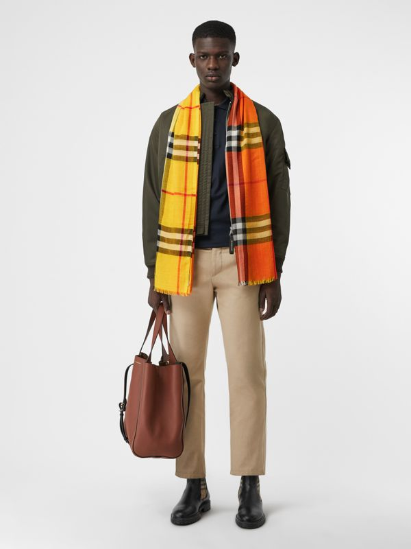 Colour Block Check Wool Silk Scarf in Amber Yellow | Burberry - cell image 3