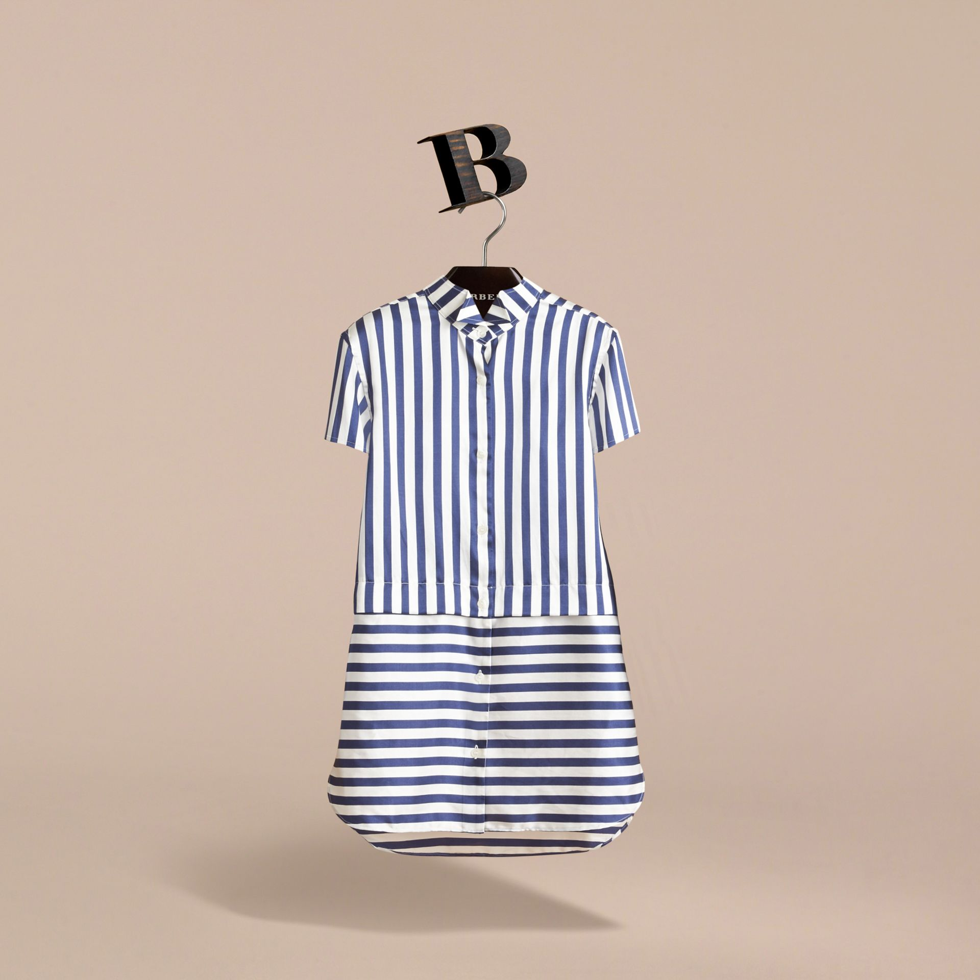 Striped Silk Cotton Shirt Dress in Indigo | Burberry - gallery image 2