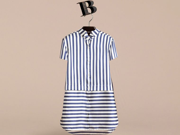 Striped Silk Cotton Shirt Dress in Indigo | Burberry - cell image 1