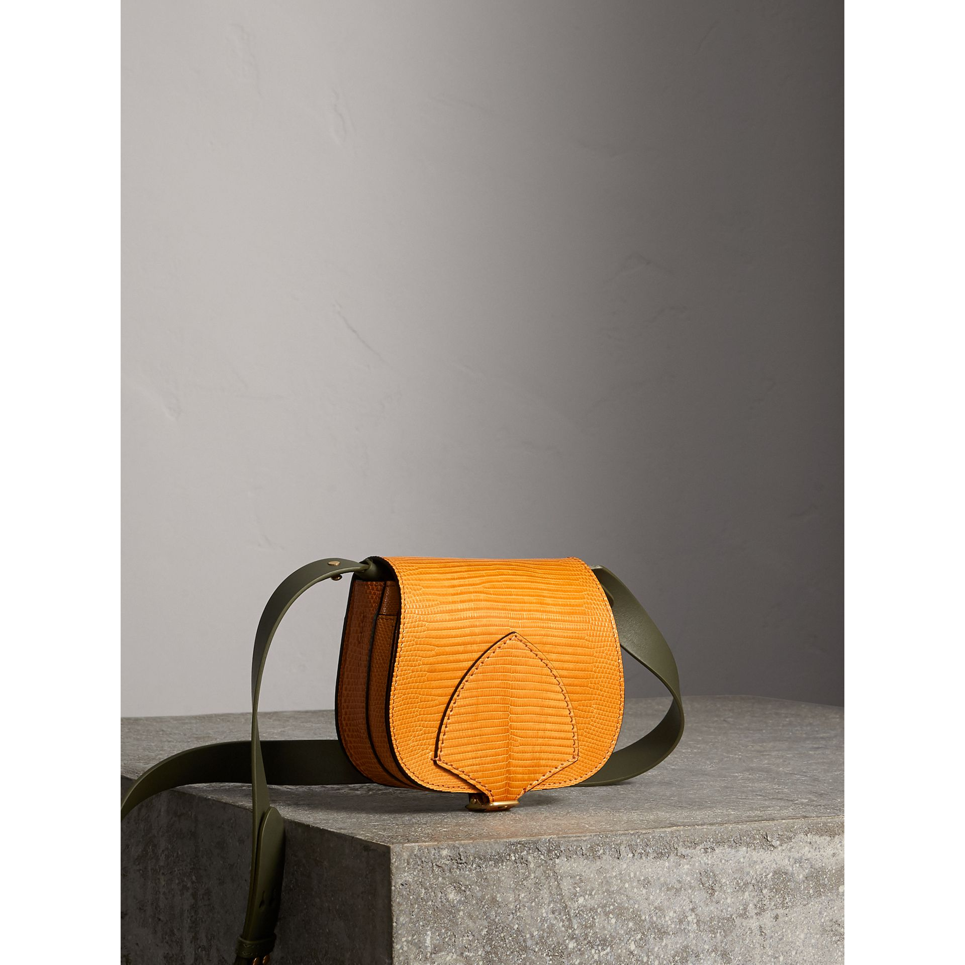 The Satchel in Lizard in Amber Yellow - Women | Burberry United Kingdom - gallery image 8