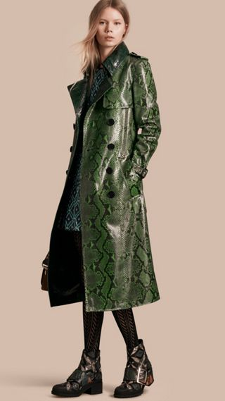 Unlined Python Trench Coat
