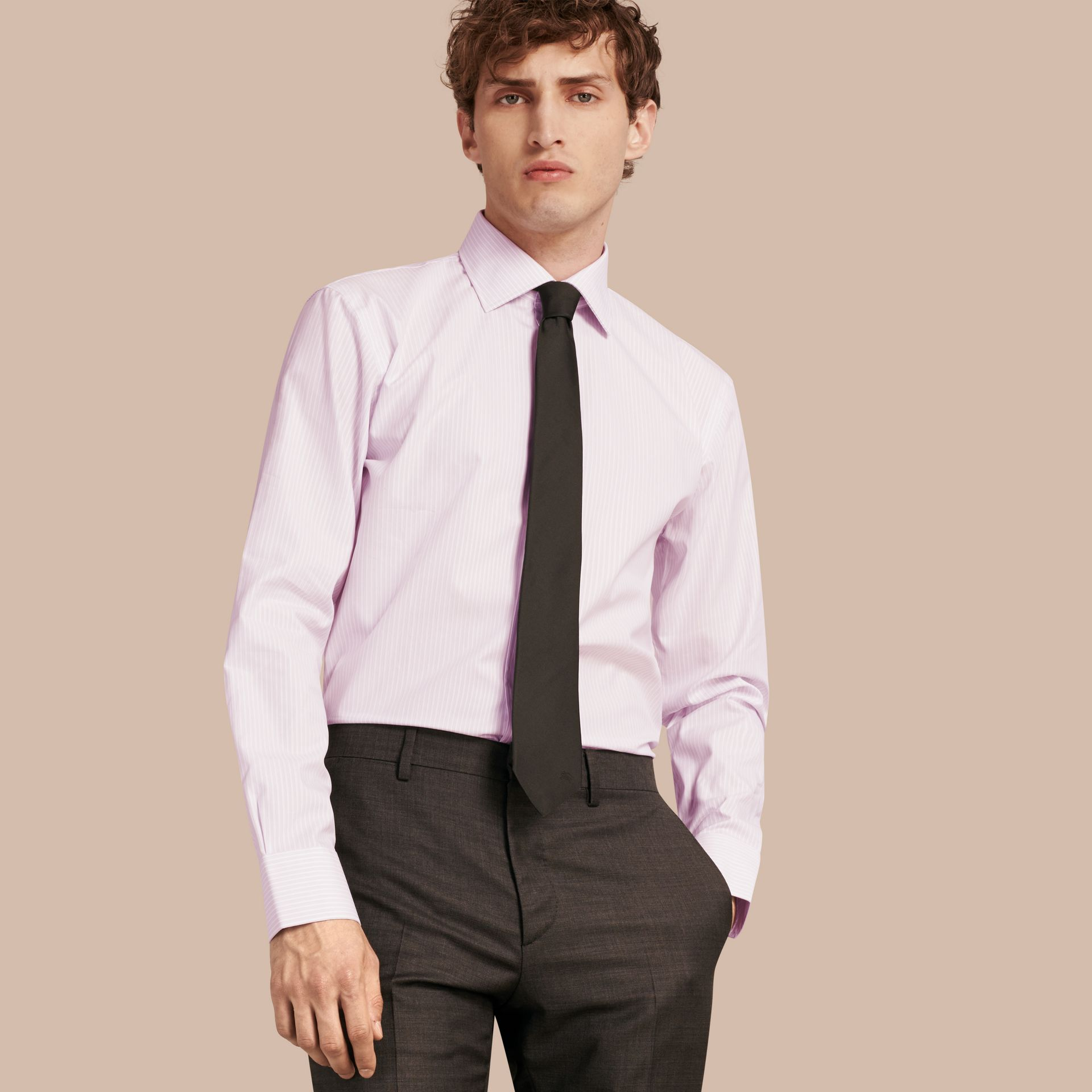 City lilac Modern Fit Double-cuff Striped Cotton Shirt - gallery image 1