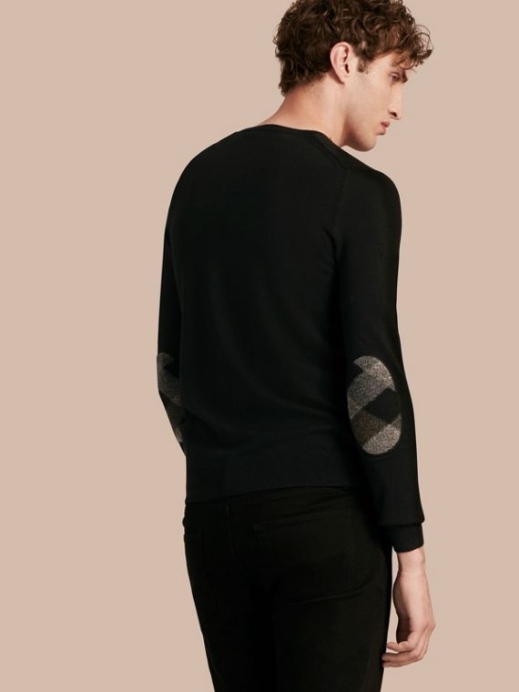 Check Elbow Detail Wool Sweater Black