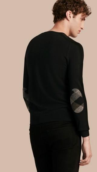 Pull en laine avec coudières check