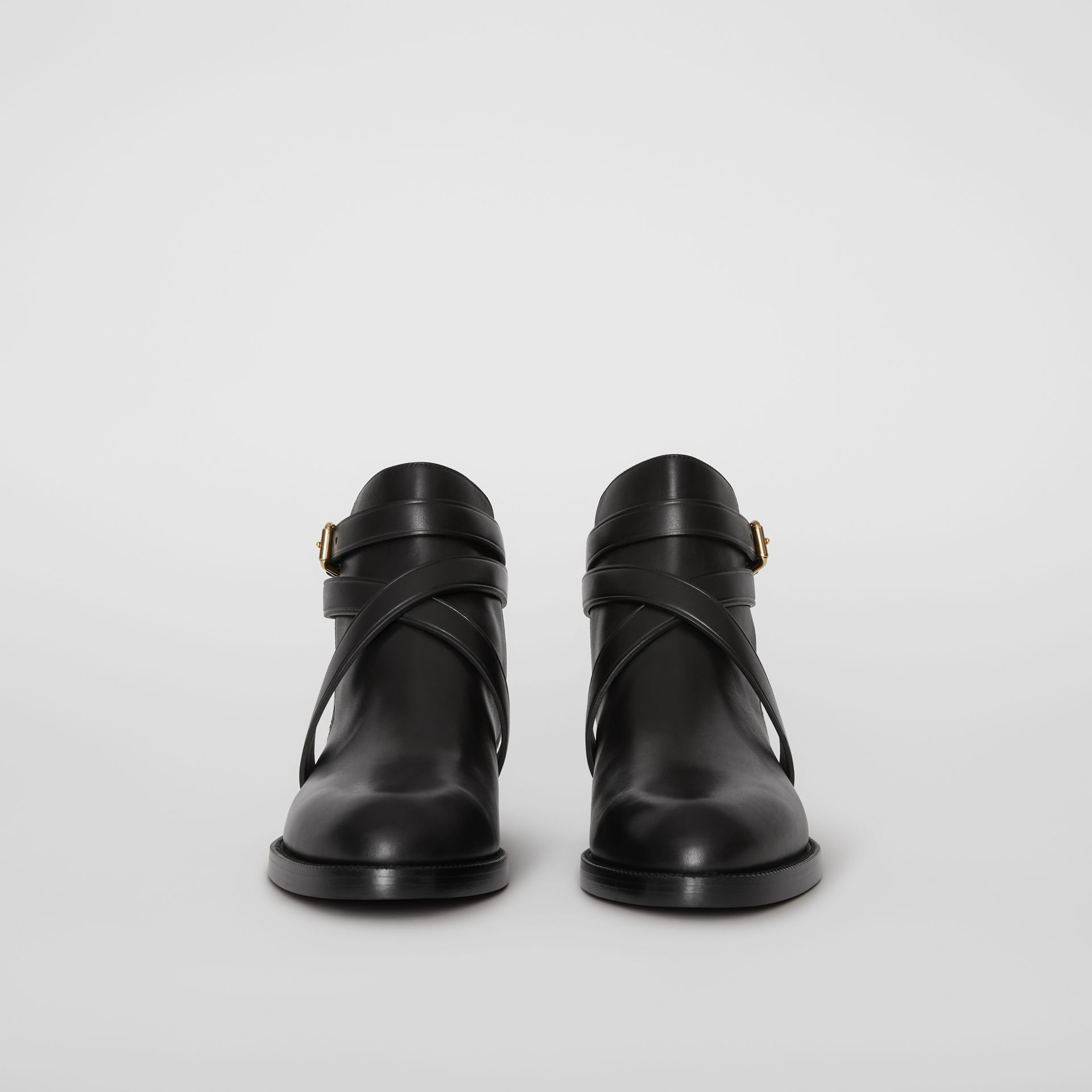 House Check and Leather Ankle Boots in Black - Women | Burberry Australia - gallery image 3