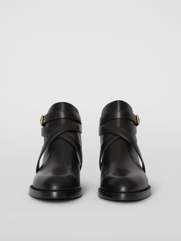 House Check and Leather Ankle Boots in Black - Women | Burberry Canada - cell image 3