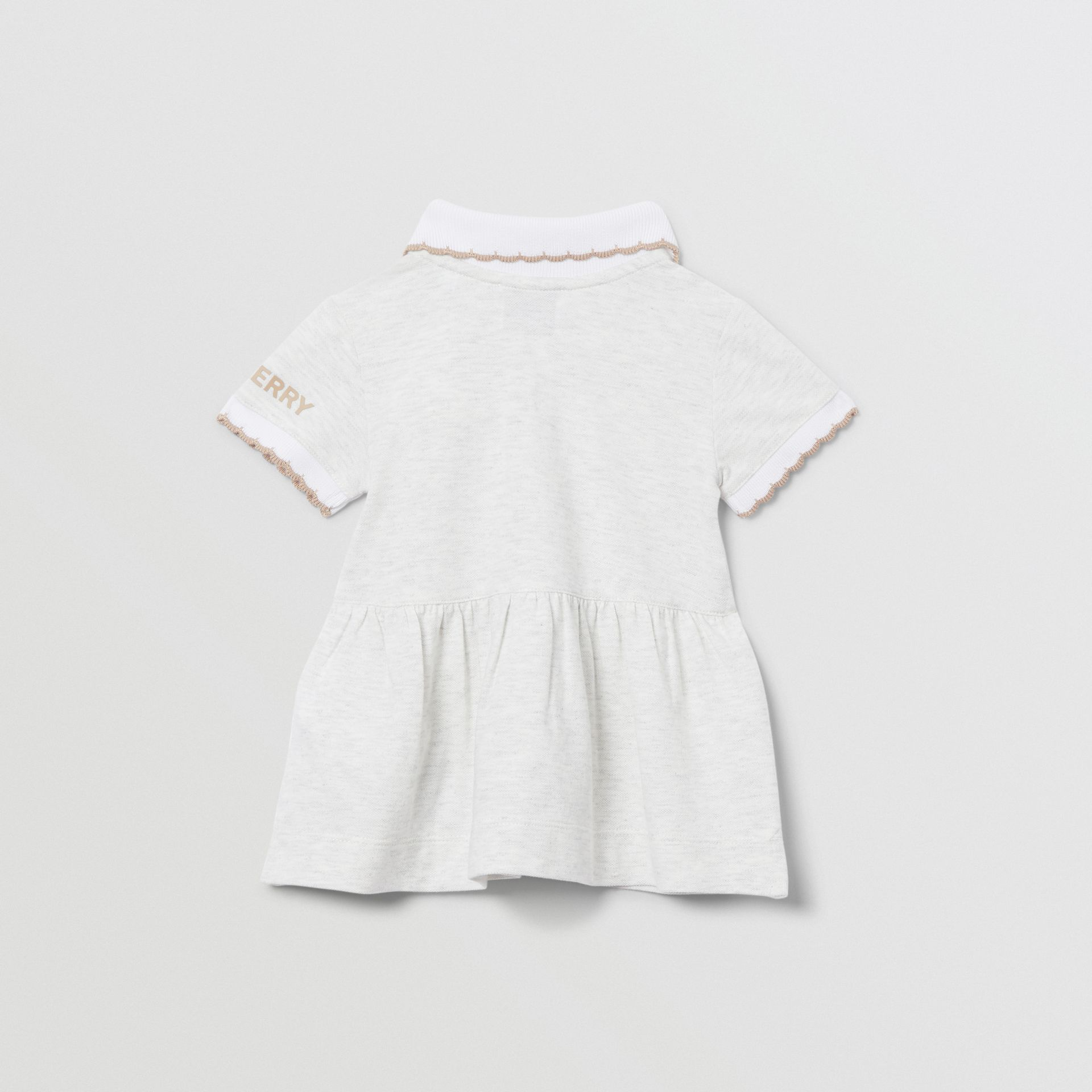 Thomas Bear Detail Stretch Cotton Dress with Bloomers in White Melange - Children | Burberry United Kingdom - gallery image 4