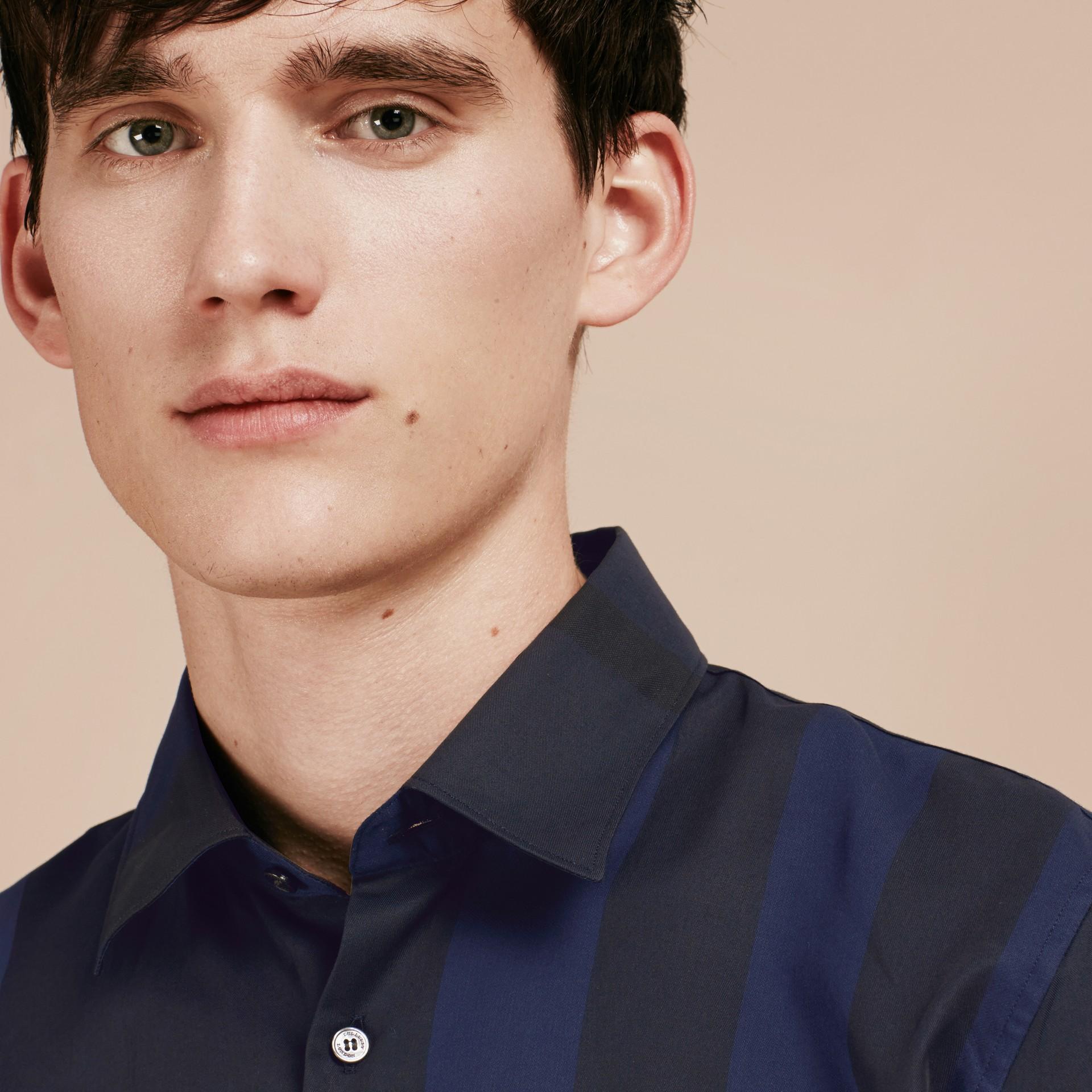 Azul marino Camisa en algodón con estampado de checks Azul Marino - imagen de la galería 5