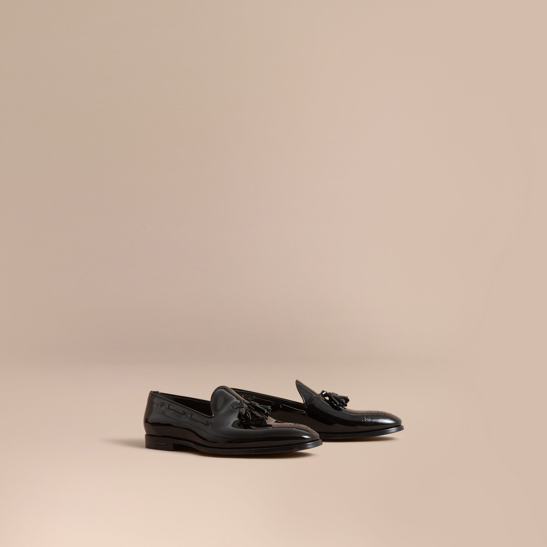 Tasselled Patent Leather Loafers in Black - Men | Burberry - gallery image 0