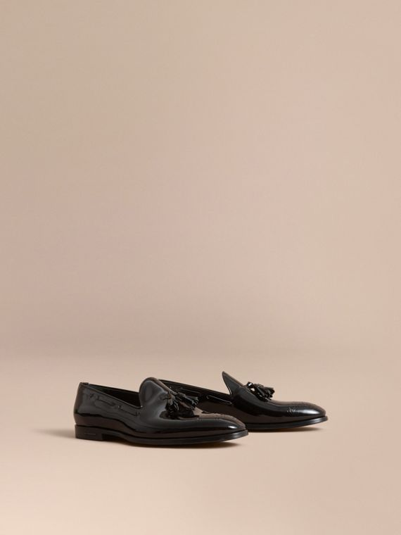 Tasselled Patent Leather Loafers in Black