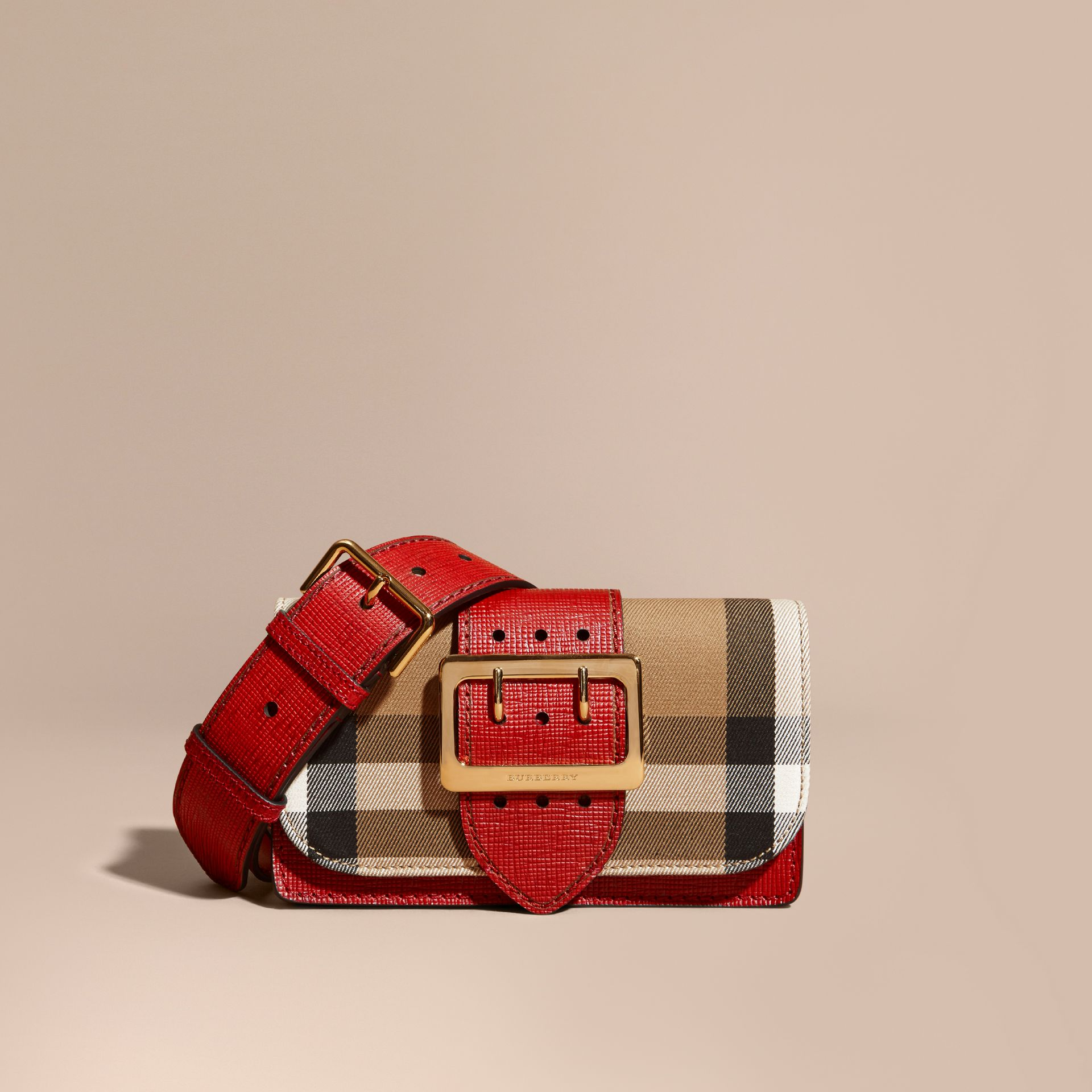 The Small Buckle Bag in House Check and Leather in Military Red/military Red - Women | Burberry United States - gallery image 0