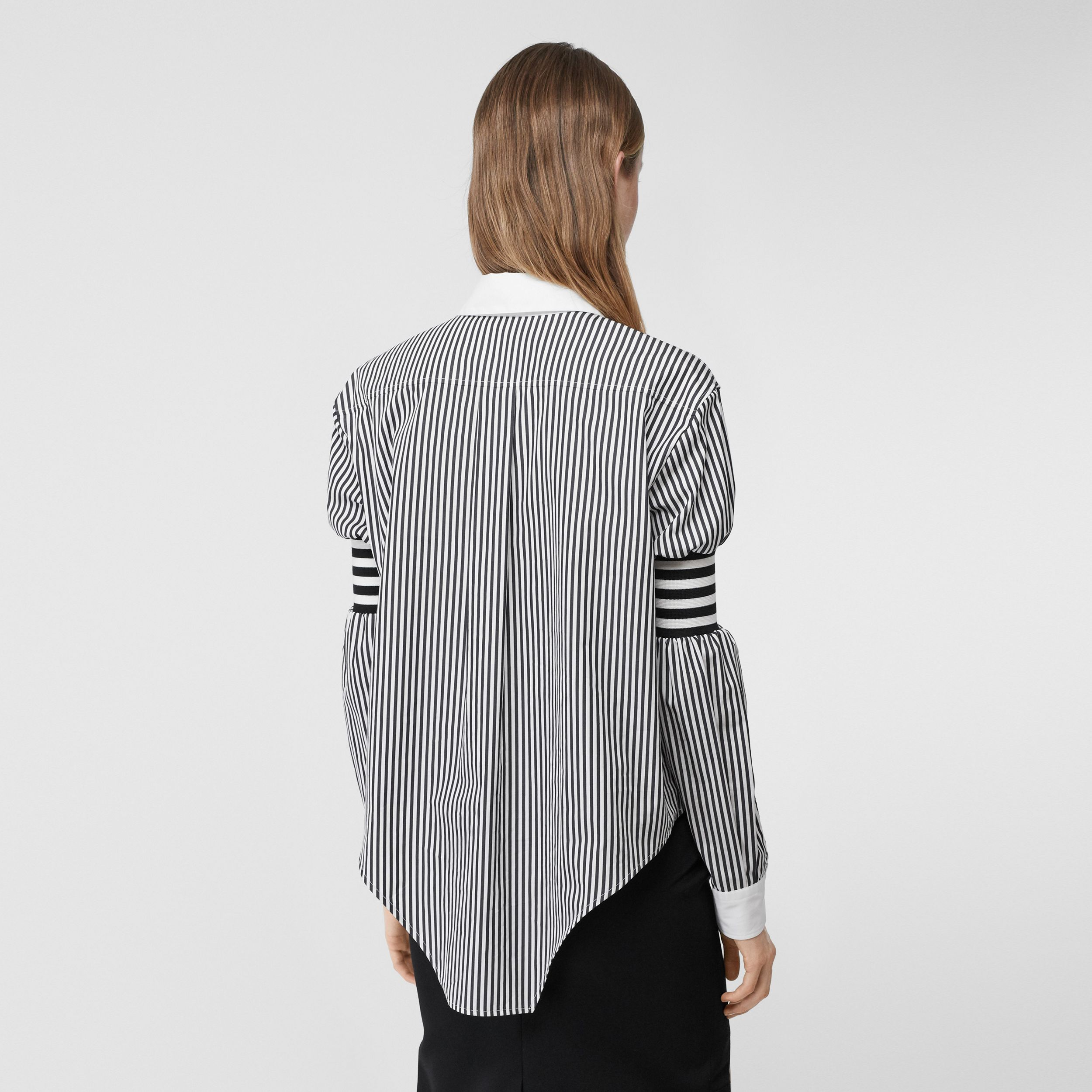 Cut-out Hem Striped Cotton Poplin Shirt in Black - Women | Burberry - 3
