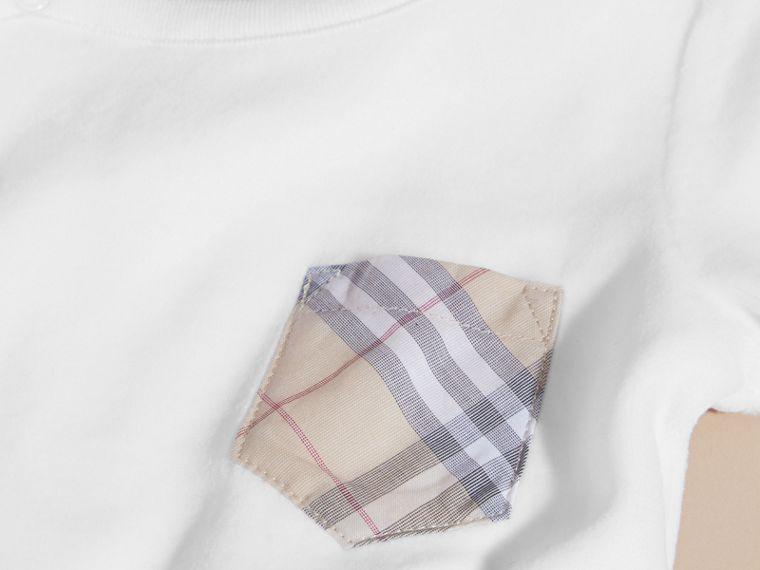 Check Detail Cotton Blend All-in-one in White | Burberry - cell image 1