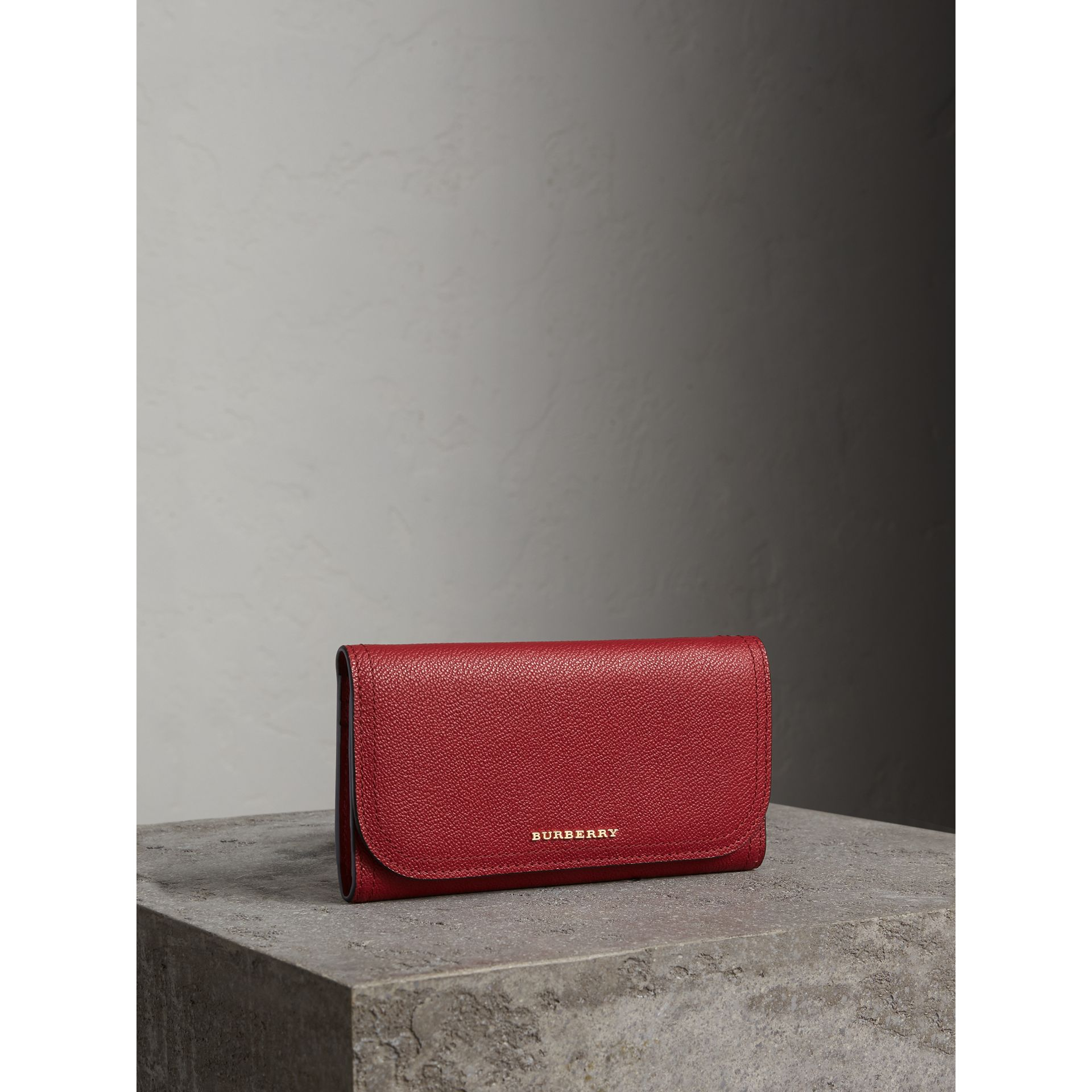 Leather Continental Wallet with Removable Coin Case in Parade Red - Women | Burberry - gallery image 1