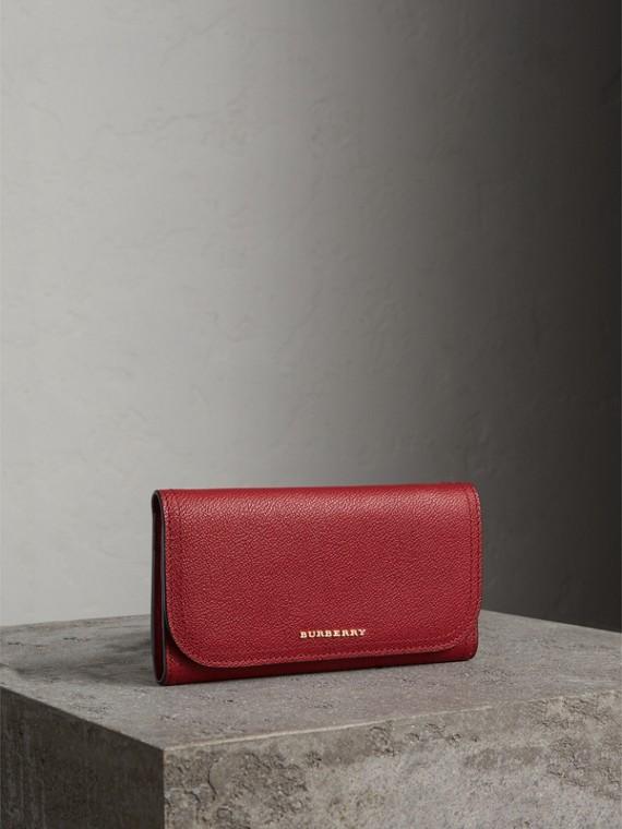 Portafoglio continental in pelle con portamonete amovibile (Rosso Parata)