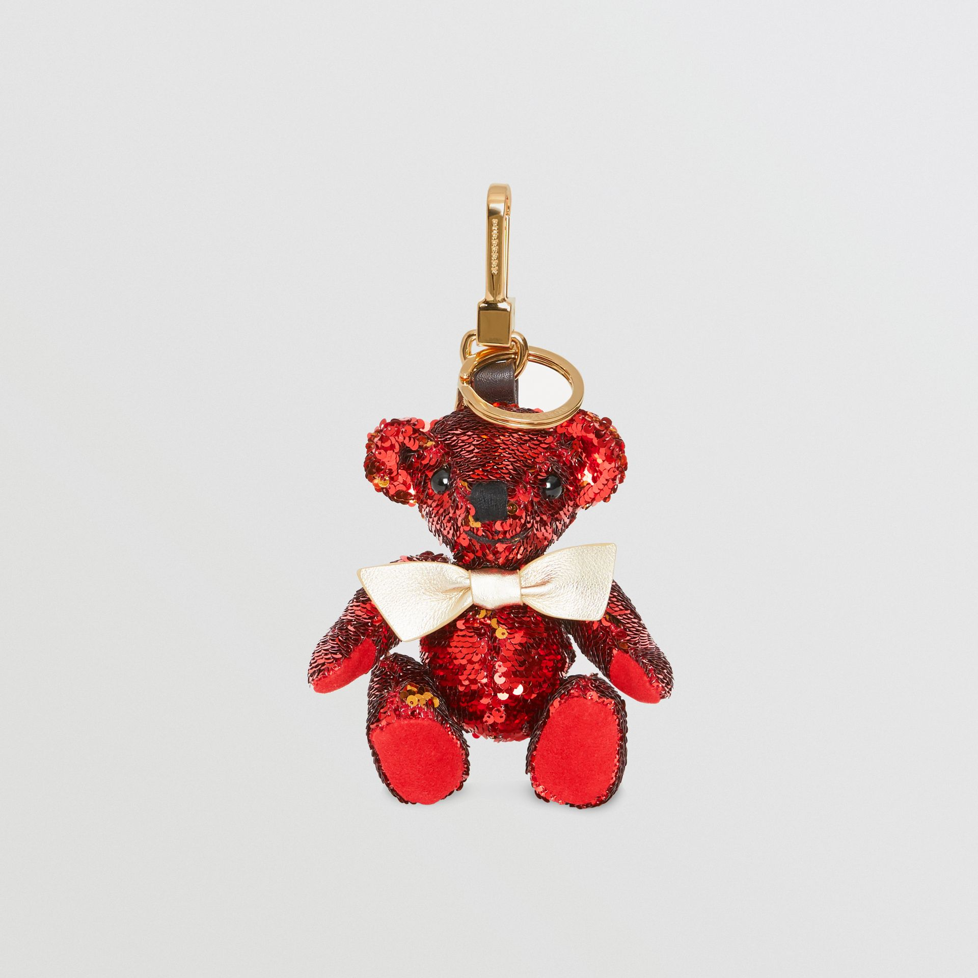 Thomas Bear Charm in Sequins and Leather in Red - Women | Burberry United Kingdom - gallery image 2