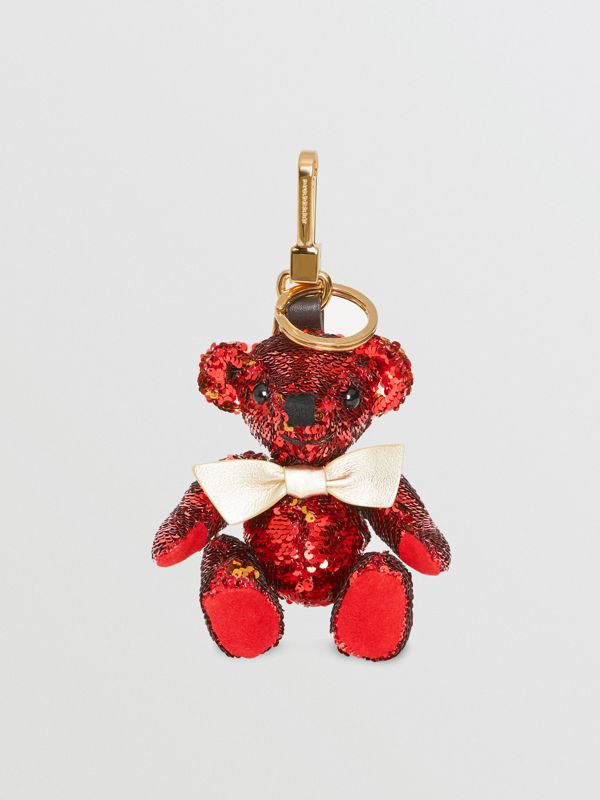 Thomas Bear Charm in Sequins and Leather in Red - Women | Burberry Singapore - cell image 2