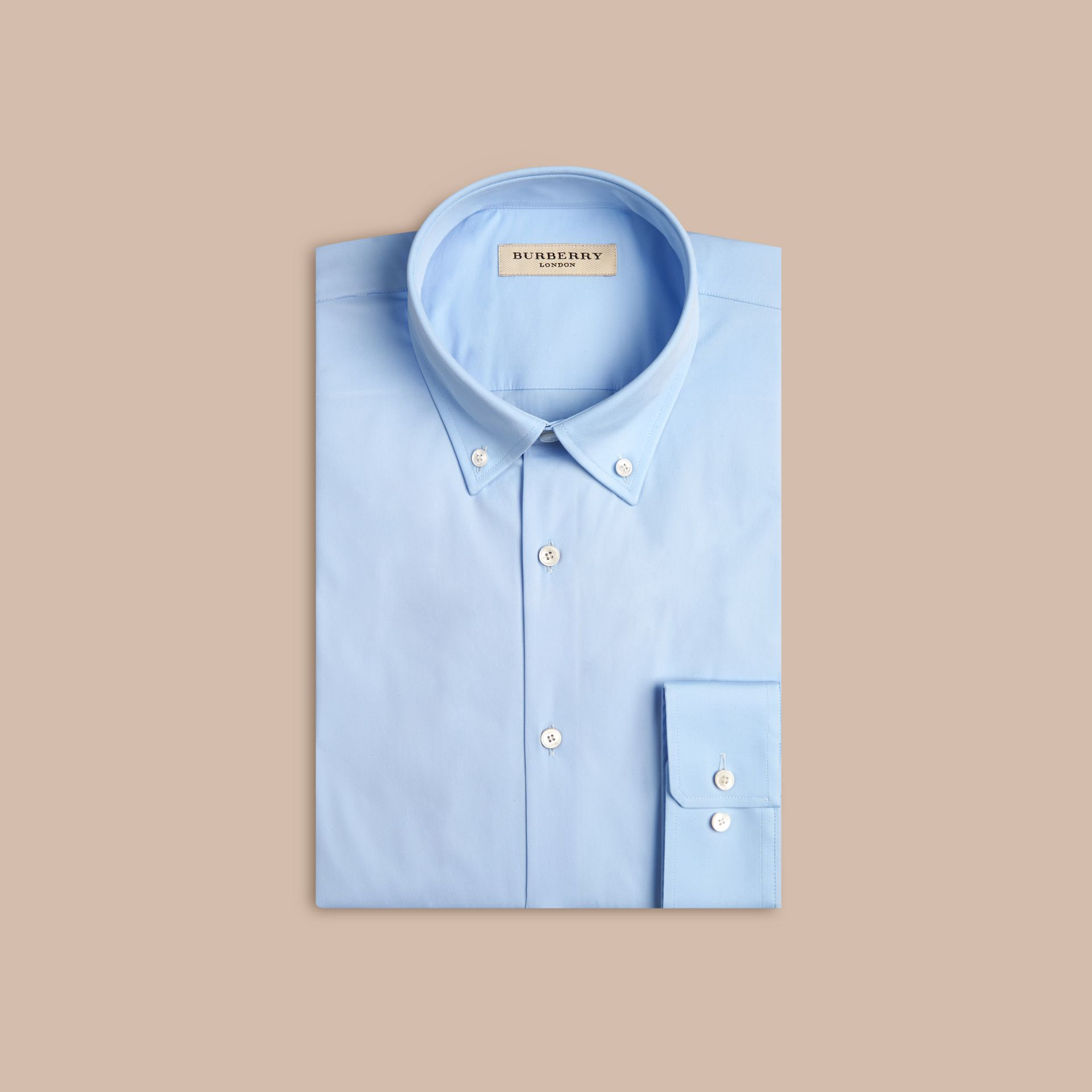 Modern Fit Button-down Collar Stretch Cotton Shirt in City Blue - gallery image 4