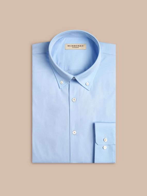 Modern Fit Button-down Collar Stretch Cotton Shirt in City Blue - cell image 3
