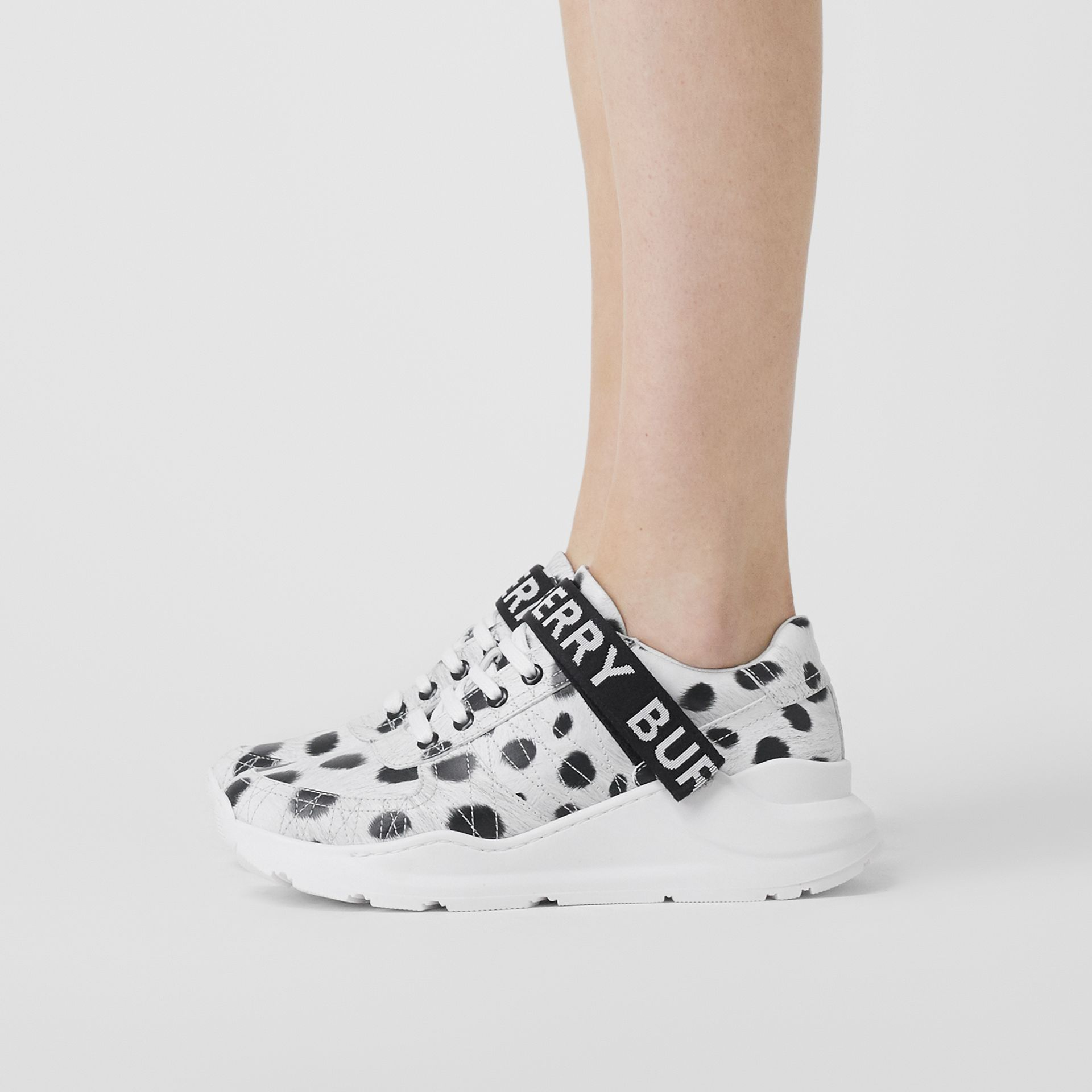 Animal Print Leather Sneakers in Off White - Women | Burberry - gallery image 2