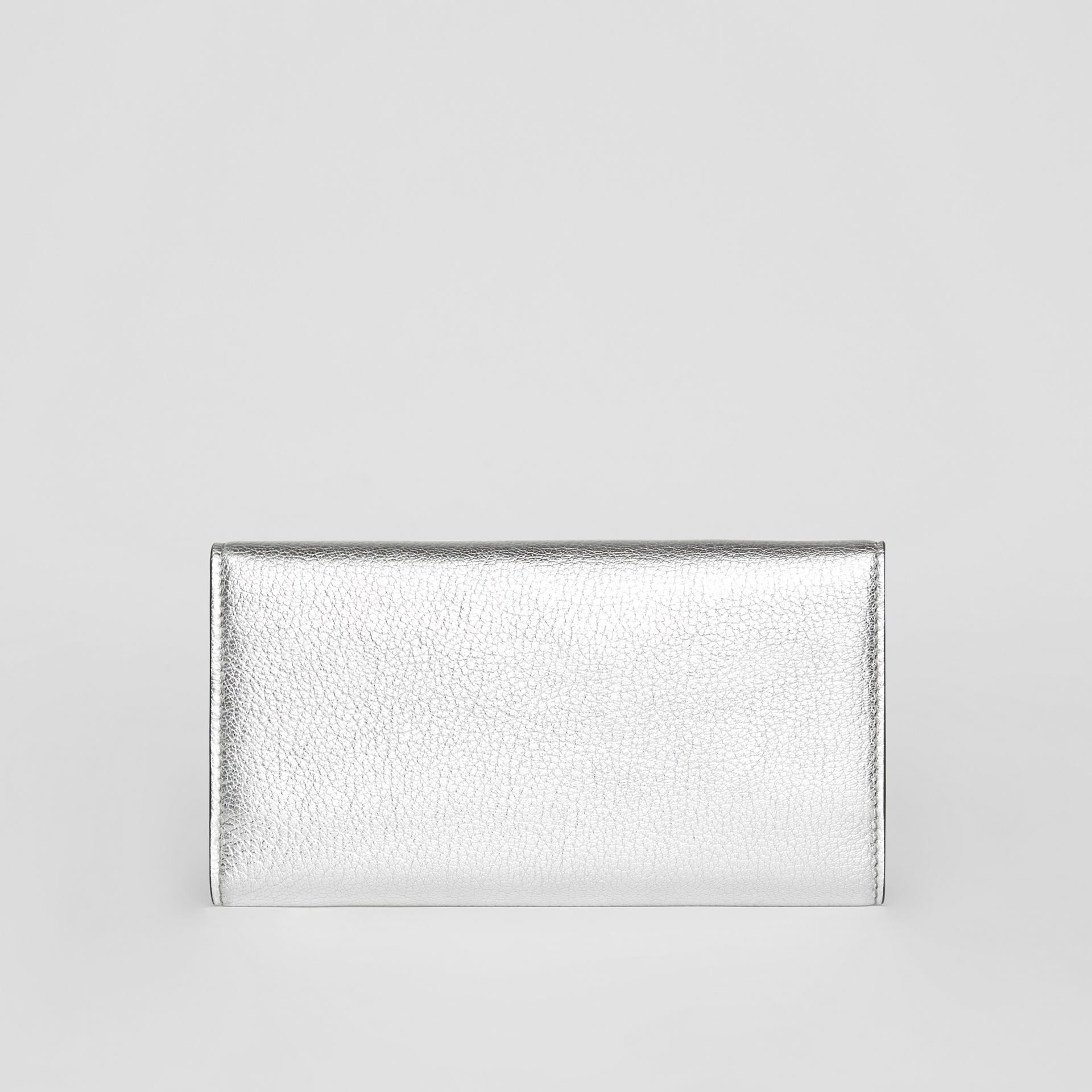 D-ring Metallic Leather Continental Wallet in Silver - Women | Burberry - gallery image 5