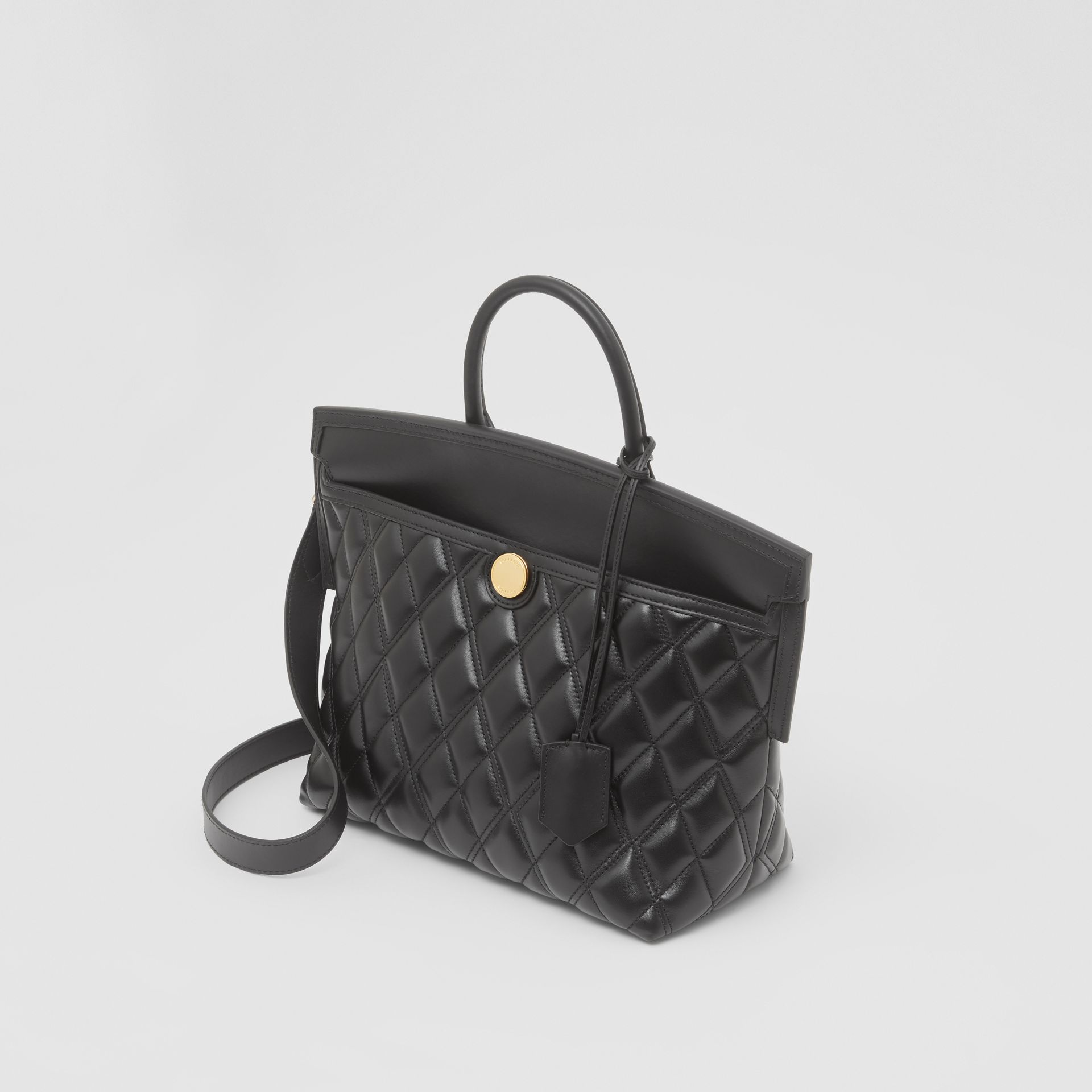 Small Quilted Lambskin Society Top Handle Bag in Black - Women | Burberry - gallery image 2