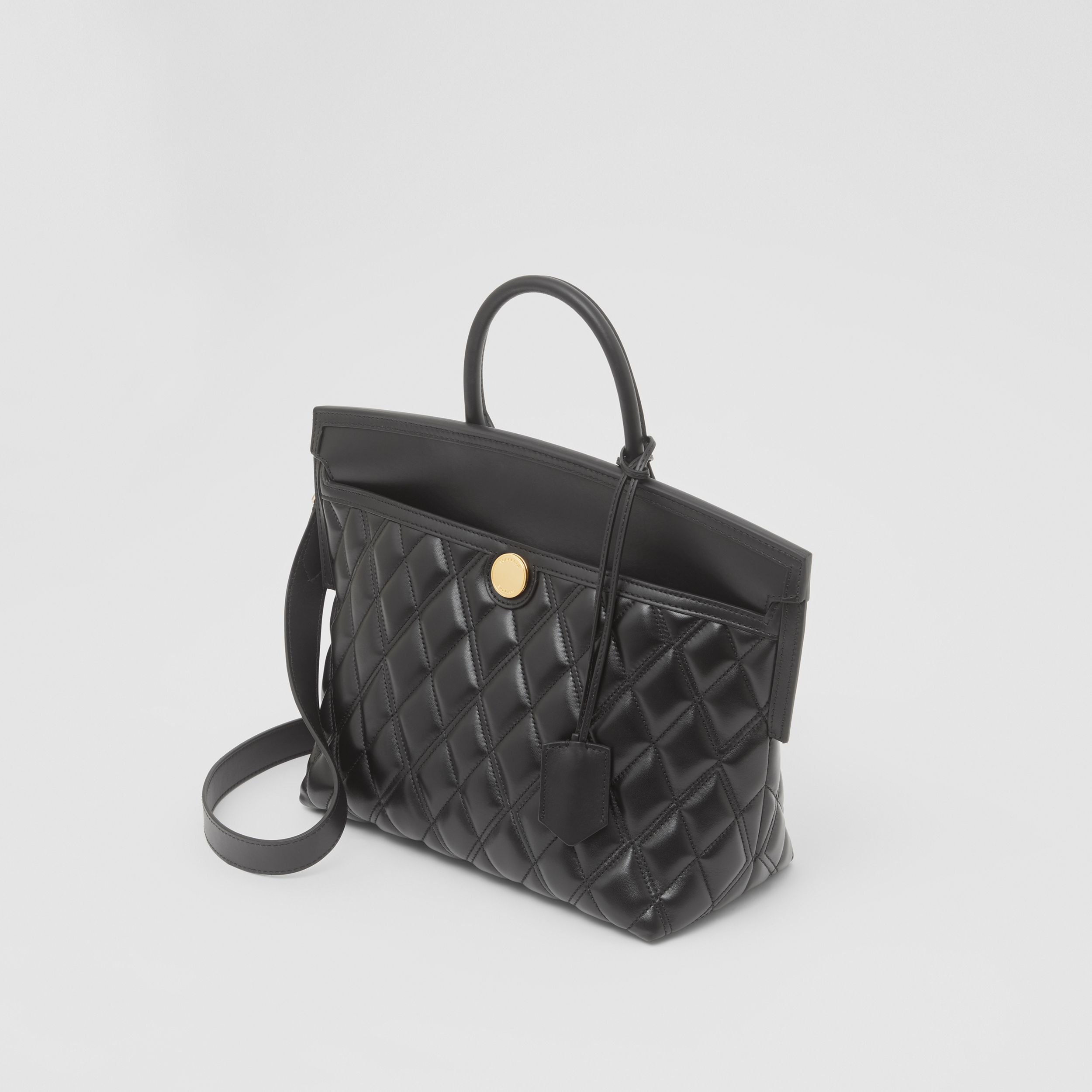 Small Quilted Lambskin Society Top Handle Bag in Black - Women | Burberry - 3