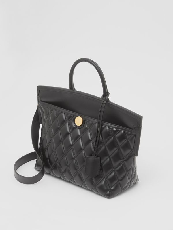 Small Quilted Lambskin Society Top Handle Bag in Black - Women | Burberry - cell image 2